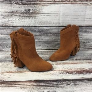 Jessica Simpson Wyoming Brown Tassle Ankle Boots